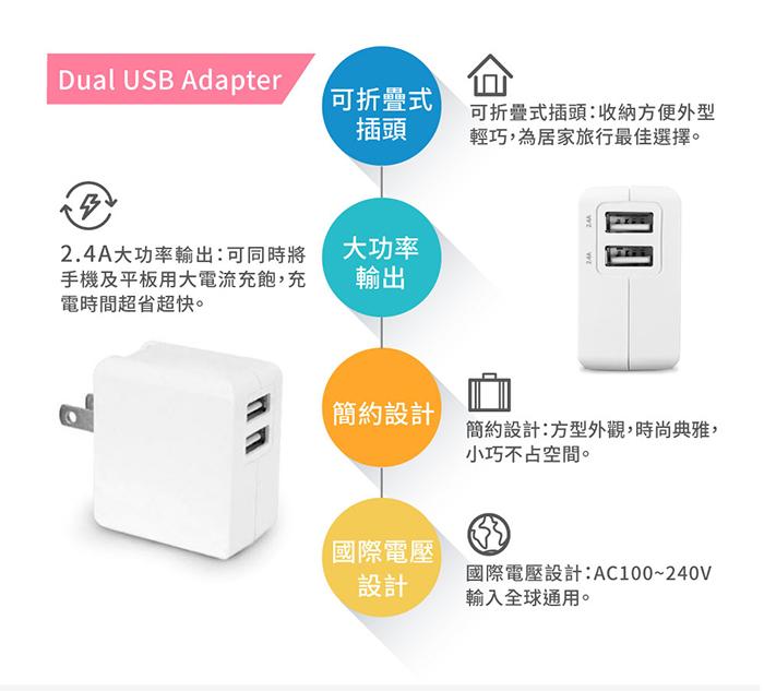 雙USB孔 5V 2.4A 高速充電器
