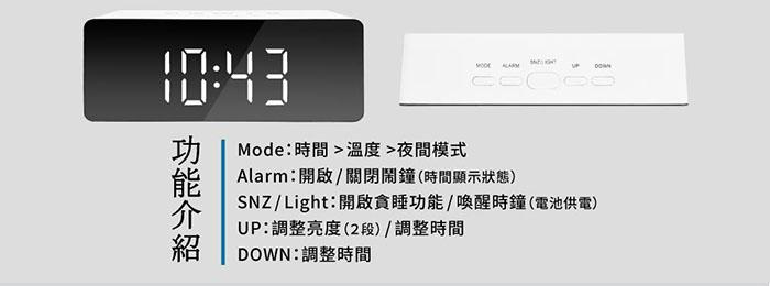 LED鏡面時鐘 產品規格 介面說明