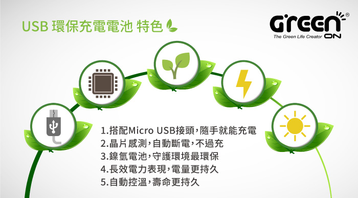 【GREENON】 USB 環保充電電池 特色