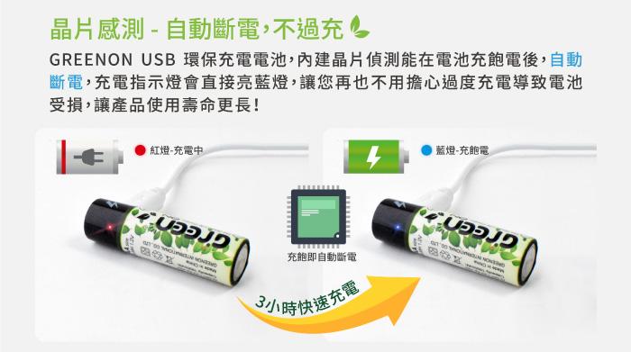 GREENON USB 環保充電電池,內建晶片偵測能在電池充飽電後,可自動斷電
