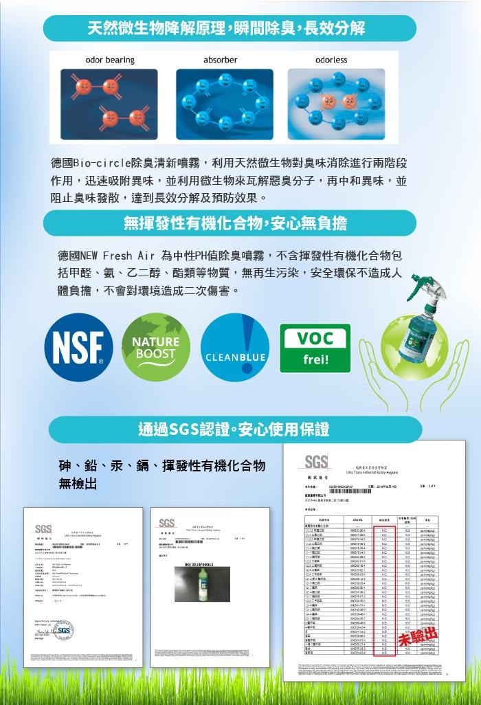 德國除臭噴霧 無揮發性有機化合物 通過SGS認證 安心使用保證