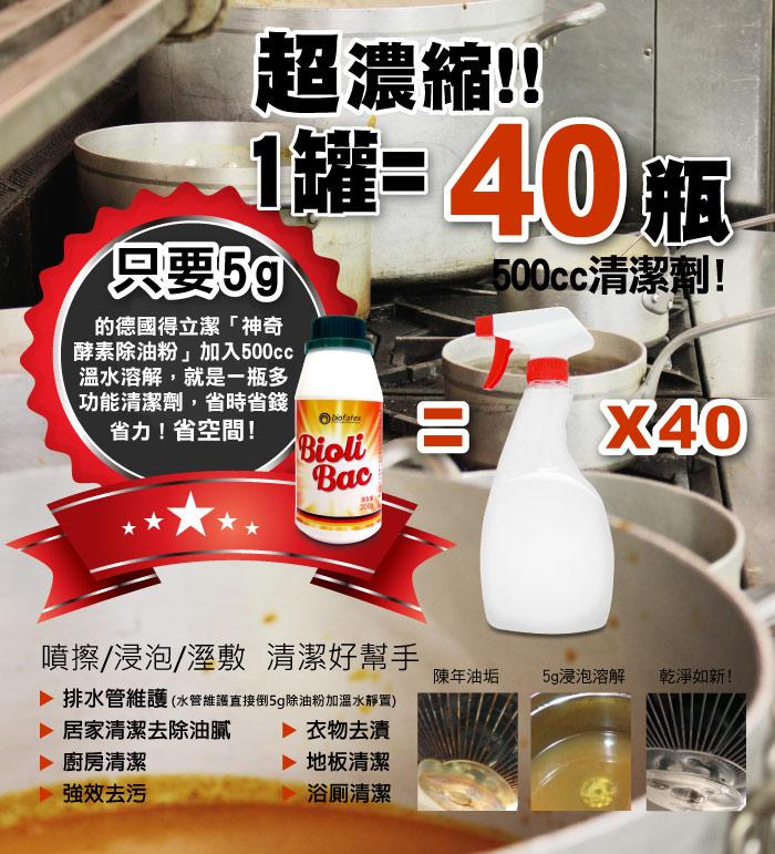 只要5g的神奇酵素除油粉搭配500ml的溫水,就是一瓶500cc的多功能清潔劑,省時省錢省力省空間