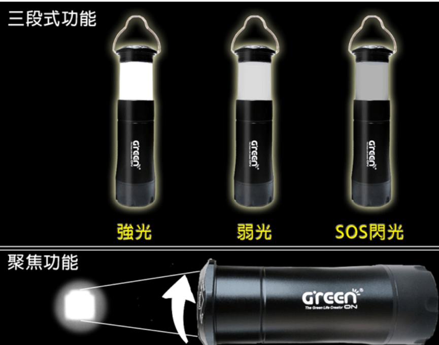 橘能四合一創意手電筒,三段式功能。