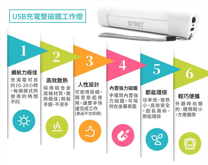USB充電雙磁鐵工作燈 特色