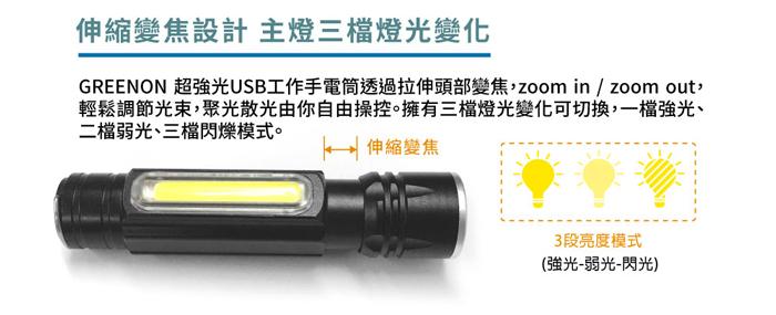 超強光USB工作手電筒伸縮變焦設計