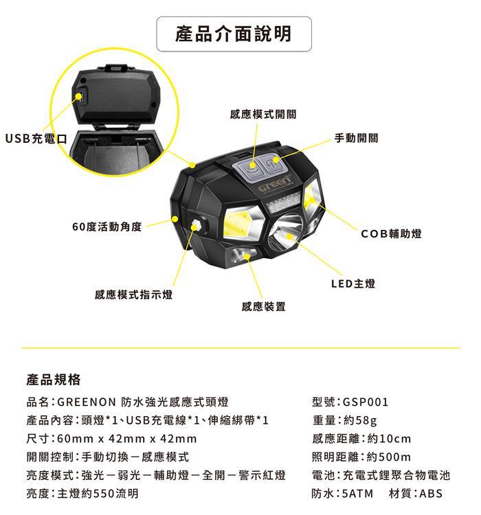 GREENON 防水強光感應式頭燈 產品規格 產品介面