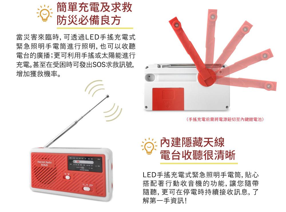 LED手搖充電式緊急照明手電筒 收音機