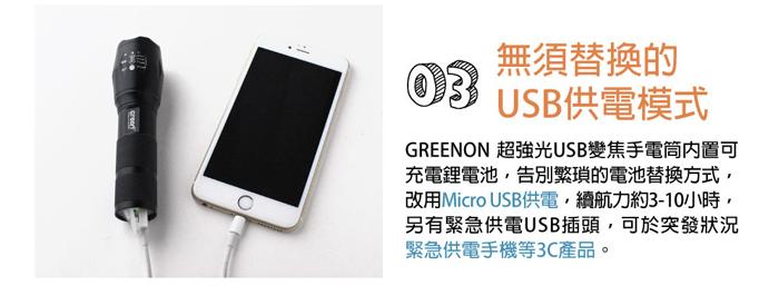GREENON 超強光USB變焦手電筒USB供電