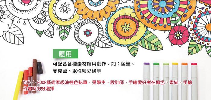 KOH-I-NOOR 捷克藝術家三角原木粗桿油性色鉛筆 可配合各種素材創作