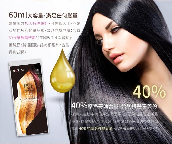 美國BoTiNi 摩洛哥堅果油溫感蒸氣護髮膜 60ml大容量,滿足任何髮量