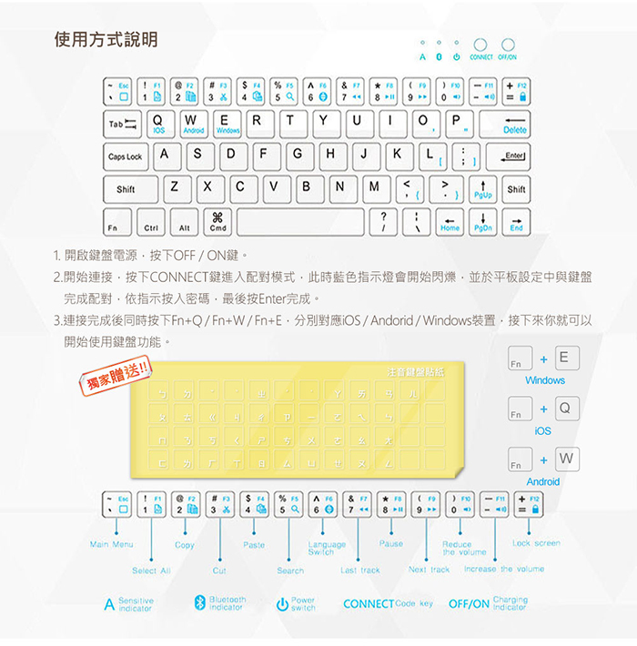 ipad 鍵盤保護套,注音鍵盤,貼紙