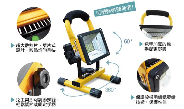 """120度大廣角LED戶外探照燈-可調整式燈頭-多角度照明"""" height="""